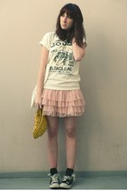 pink H&M skirt - black converses shoes - yellow coolkat hat