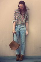 green vintage shirt - pink Urban Outfitters glasses - blue Topshop jeans - brown