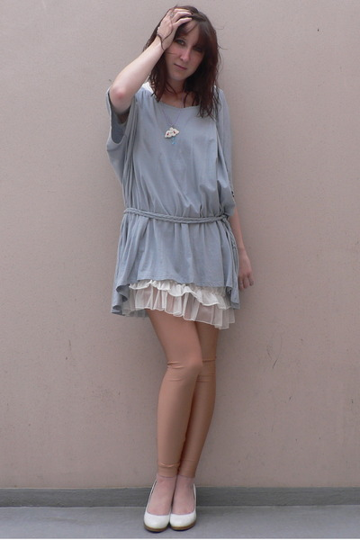 new look shirt - Zara dress - shiny peach AA leggings leggings - miss coquine sh