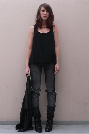 Naf Naf top - Bershka jeans - aa sweater - new look boots
