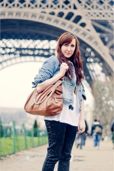 gray Zara jeans - sky blue Primark jacket - white Lazy Oaf shirt - tawny Sixx ba