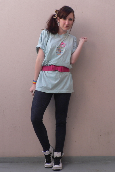 vintage shirt - new look belt - H&M leggings - nike shoes - lepard hair pin  mad