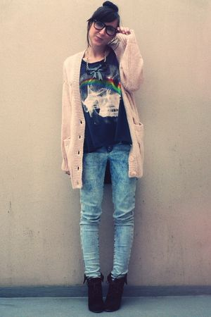 pink H&M cardigan - gray Religion shirt - blue Topshop jeans - brown Yesstyle bo
