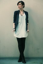 blue H&M Kids blazer - silver Topshop t-shirt - black Pimkie leggings - black ne