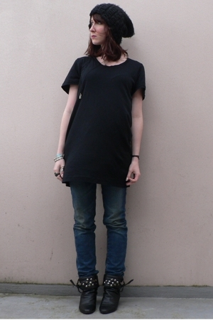 H&M hat - American Apparel dress - H&M jeans - diy studded random boots shoes