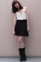 H&M vest - H&M skirt - Pimkie socks - new look boots