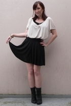 Promod top - H&M t-shirt - H&M skirt - new look shoes