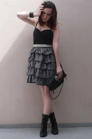 H&M dress - studded belt belt - Thomas Wylde purse - new look shoes - Self Made