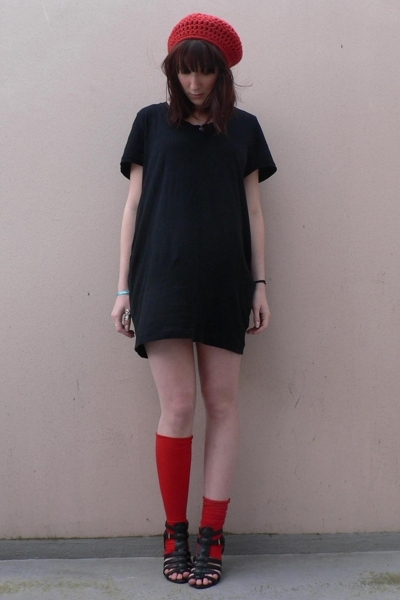 my mummy made it  accessories - American Apparel dress - from old tights socks -