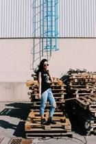 Choies boots - Topshop jeans - t-shirt