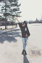 black Zara boots - Topshop jeans - jacket - Aldo sunglasses