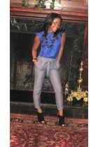 banana republic blouse - gold Bebe pants - Bakers shoes - vintage accessories