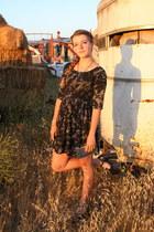 black smoke lace up Motel Rocks dress - silver holographic Deena & Ozzy wallet