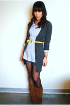 Forever 21 cardigan - Minnetonka boots - Forever 21 shirt - thrifted belt
