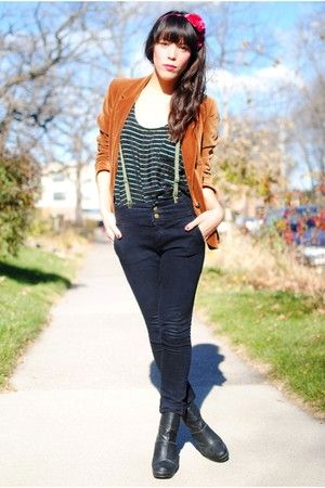 blazer - accessories - Forever 21 blouse - Forever 21 jeans - Forever 21 boots