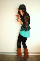 Urban Outfitters blouse - Minnetonka boots - thrifted express cardigan - Forever