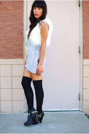 thrifted dress - Dolce Vita boots - Forever 21 vest