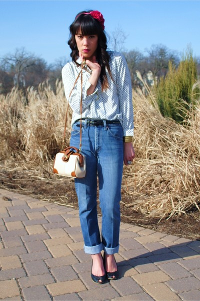thrifted blouse - thrifted jeans - Target shoes