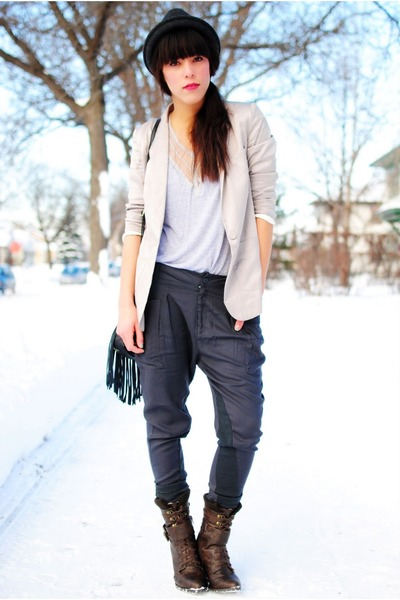 Zzoitcom pants - Forever 21 hat - blazer - blouse - luluscom boots
