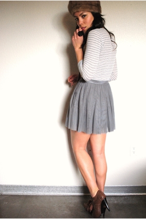 thrifted shirt - Forever 21 skirt - Forever 21 shoes - vintage hat