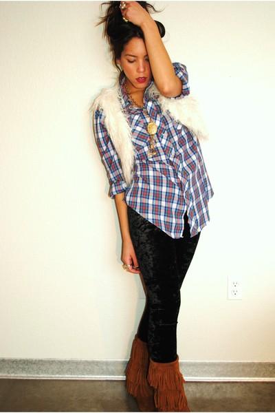 Forever 21 vest - thrifted blouse - Forever 21 leggings - Minnetonka boots