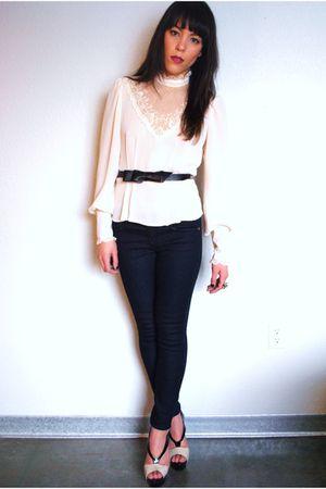 vintage blouse - Forever 21 jeans - Forever 21 shoes - Forever 21 belt