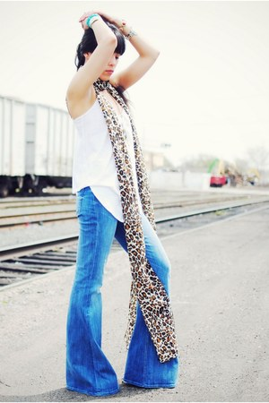 7 for all mankind jeans - H&M scarf - alternative apparel blouse