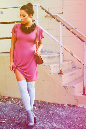 Forever 21 accessories - Charlotte Russe boots - thrifted dress - Target socks