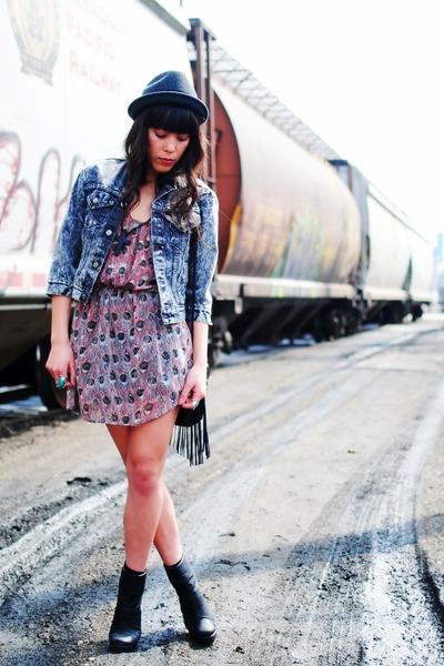 Forever 21 dress - thrifted jacket - H&M bag