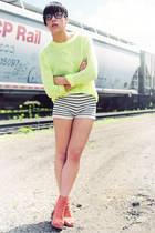 Jeffrey Campbell shoes - Cheap Monday sweater - Pins & Needles shorts - Sunglass