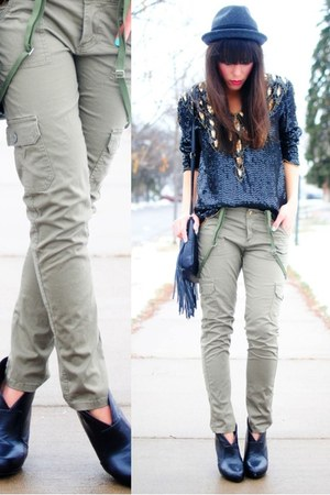 Charlotte Russe boots - Forever 21 hat - thrifted blouse - Forever 21 pants