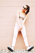 Demonia shoes - asos jeans - Forever 21 bodysuit - 80s purple glasses