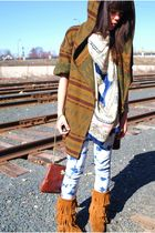 thrifted jacket - thrifted scarf - Forever 21 jeans - Minnetonka boots