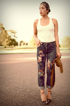 DIY patchwork jeans