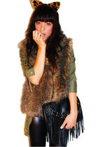 ASOS headband accessories - thrifted vest - Ebay jacket - H&M bag - f21 leggings