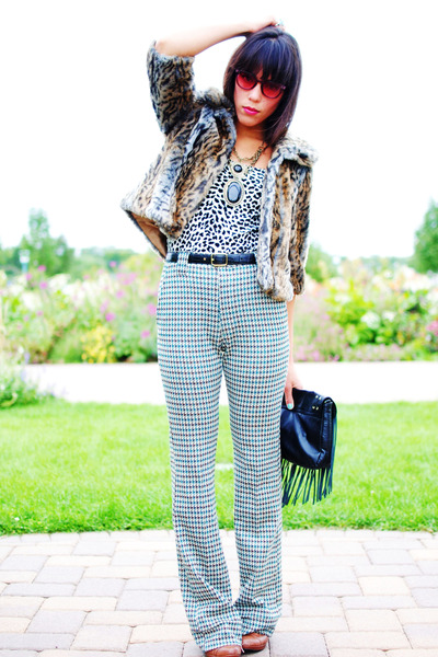 SunglassesShopcom sunglasses - thrifted coat - thrifted blouse - H&M bag - thrif