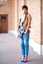 Romwecom jacket - Levis jeans - H&M scarf - asoscom top - Topshop heels