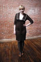 brown Jonathan Logan dress - black merona tights - tan Softspots wedges