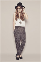 black Forever 21 pants - white Forever 21 top - black Forever 21 shoes - silver
