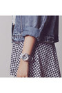 Silver-baby-g-watch-black-houndstooth-ellysage-skirt