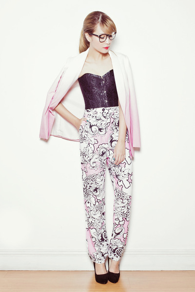 pink Fairground pants - pink romwe blazer - black Zara heels