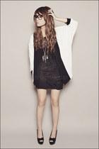 black Forever 21 skirt - black Forever 21 top - white Forever 21 cardigan - blac