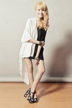 black Five By Five heels - white romwe shorts - black romwe top
