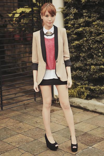maroon crop Topshop top - white polo Uniqlo top - tan two-tone Zara blazer