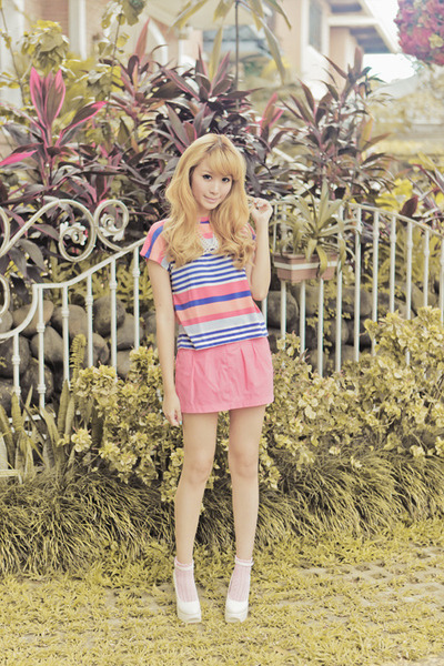 pink cotton on socks - pink Just G top - pink Just G skirt