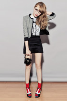 black Capital Vice heels - heather gray Just G jacket