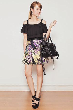 black ShopJOA skirt - black balenciaga bag - black ianywear top