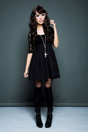 black Topshop dress - black Topshop stockings - black Forever 21 boots