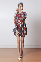 brick red floral print PERSUNMALL dress - black clutch sm accessories bag