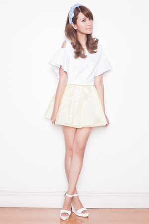 light yellow pinkaholic skirt - white Tricia for Romwe top